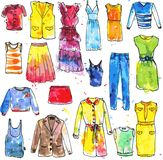 Watercolor drawing women's dresses Royalty Free Stock Image