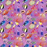 Watercolor drawings of bright fish and corals. Seamless patterns Stock Images