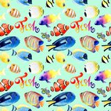 Watercolor drawings of bright red sea fish. Seamless patterns Stock Images