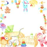 Watercolor drawings for a children`s room frame royalty free illustration