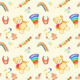 Watercolor drawings for a children`s room seamless pattern vector illustration