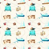 Watercolor drawings. pattern of travel royalty free illustration