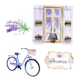 Watercolor drawings in Provence style. set: window, bike, lavender stock illustration