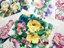 Watercolor drawings of roses on paper. Are scattered chaotically royalty free stock photos