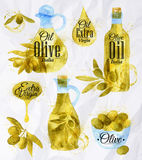 Watercolor Drawn Olive Oil Stock Photography