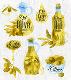 Watercolor drawn olive oil retro style Royalty Free Stock Photos