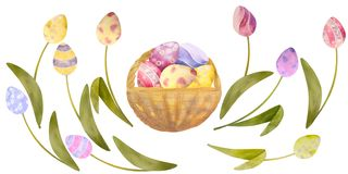 Watercolor drawn set with elements of happy easter. Flowers, eggs, all isolated on a white background. Watercolor drawn set with elements of happy easter. Eggs royalty free illustration