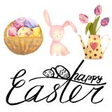 Watercolor drawn set with elements of happy easter. Hand drawn lettering, rabbit, eggs. Ideal for greeting card or logo royalty free stock image