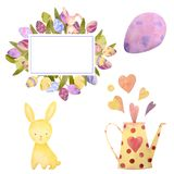 Watercolor drawn set with elements of happy easter. Hand drawn rabbit, eggs. Ideal for greeting card or logo. Watercolor drawn set with elements of happy easter vector illustration