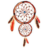 Watercolor dream catcher with blue point Royalty Free Stock Images