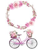 Watercolor bicycle with flower basket and pink flowers wreath. Set of 2 watercolor floral arrangements, floral romantic bicycle and gentle wreath Perfect vector illustration
