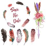 Watercolor feathers, arrow with flowers and feather wreath, Boho style decor! stock illustration
