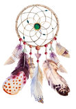 Watercolor dreamcatcher with beads and feathers Stock Image