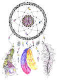 Watercolor dreamcatcher with beads and feathers. Illustration for your design Stock Photo