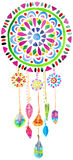 Watercolor Dreamcatcher. For beautiful design, boho chic, ethnic stock illustration