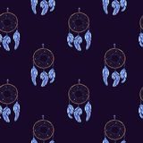 Watercolor Dreamcatcher and feather pattern stock illustration