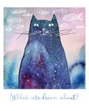 Watercolor dreaming cat. What cats dream about... Watercolor illustration of a dreamy cat. Hand drawn fishes on the background and a text below. It can be a Stock Image