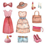 Watercolor dresses and accessories Stock Photos