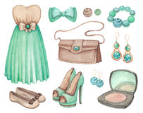 Watercolor dresses and accessories Stock Photography