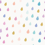 Watercolor drops seamless pattern background with gold glitter elements. vector illustration