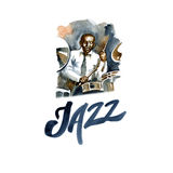 Watercolor drummer of jazz band. Creative people Royalty Free Stock Photography