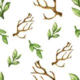 Watercolor dry tree leaf seamless pattern set. Watercolor gouache elegant vintage yellow purple flower hand painted botanical garden flower green  leaves spring Stock Photo