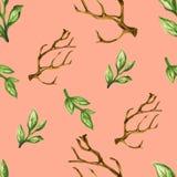 Watercolor gouache leaves seamless pattern. Watercolor dry tree leaves branches seamless pattern set Hand painting  botanical garden flower  green  leaves spring Stock Image