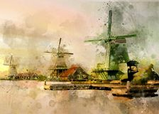 Watercolor of Dutch wind mills Royalty Free Stock Image