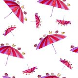 Watercolor eamless pattern hand drawn art about birds carrying umbrella on the white background. Seamless pattern with colorful umbrella and bird on the white stock illustration