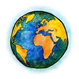 Watercolor with Earth Planet Royalty Free Stock Photo