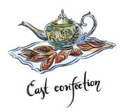 Watercolor east confection Stock Photography