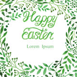 Watercolor Easter Background.Green Word,branches Stock Photo