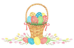 Watercolor Easter basket. Royalty Free Stock Photos