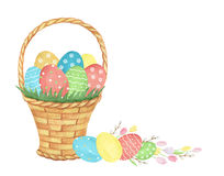 Watercolor Easter basket. Stock Images