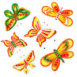 Watercolor easter butterfly drawing. Spring bright cheerful ornament Stock Photography