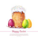 Watercolor easter cake Royalty Free Stock Images