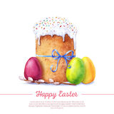 Watercolor easter cake Stock Images