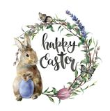 Watercolor easter card with bunny, butterfly and lettering. Hand painted border with egg, lavender, willow, tulip, tree. Branch with leaves isolated on white vector illustration