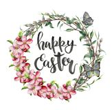 Watercolor easter card with butterfly, apple flowers and lettering. Hand painted illustration with willow, tree branch vector illustration
