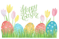 Watercolor Easter card. Stock Photos