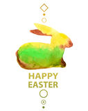 Watercolor Easter card with rabbit Stock Photos