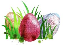 Watercolor Easter colored eggs. Watercolor Easter colored eggs and green grass on white background. Design element for greeting cards, note cards and Stock Photos