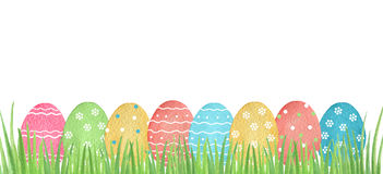 Watercolor Easter colored eggs. Stock Image