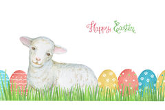 Watercolor Easter colored eggs and sheep. Royalty Free Stock Photos