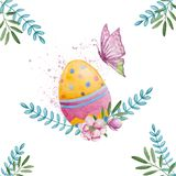 Watercolor easter colorful egg with butterfly stock illustration