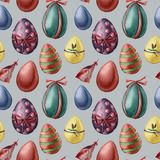 Watercolor easter eggs and feather pattern. Hand painted colored eggs with decor isolated on blue background. Holiday. Illustration for design, print vector illustration