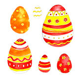 Watercolor easter eggs. Spring bright cheerful ornament Stock Photos