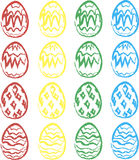 Watercolor easter eggs. Vector set of colorful Easter eggs. Happy Easter royalty free illustration