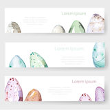 Watercolor Easter holiday cards, tags, banners set. Vector Stock Image