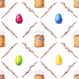 Watercolor easter pattern Stock Images